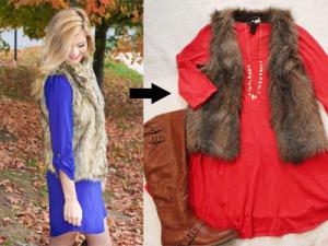 Dress with fur vest